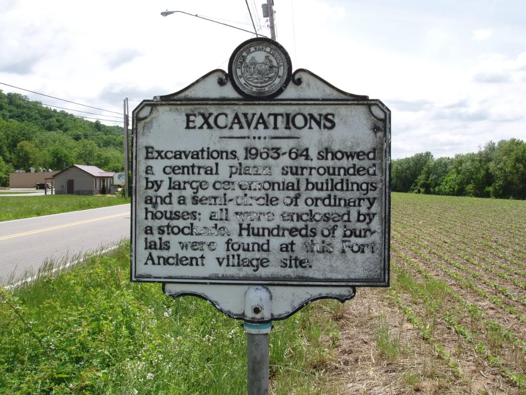 Excavation Indian Village Marker Located:  WV 62, just east of Buffalo, 7.3 miles west of Winfield Bridge (WV 34), 22.4 miles east of WV 2, West of Buffalo Bridge