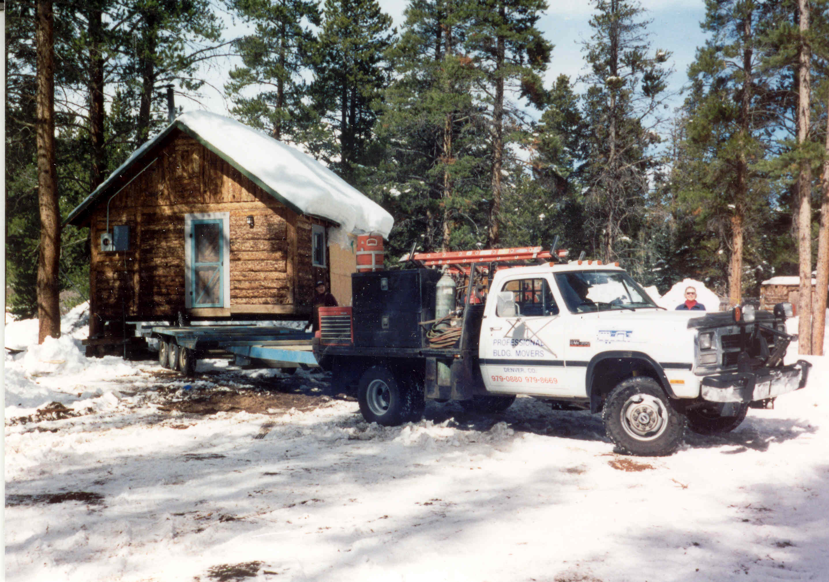 Relocation of the Niemoth Cabin in 1996, from Bill's Ranch Neighborhood to the Frisco Historic Park. Moved by Professional Building Movers of Denver.