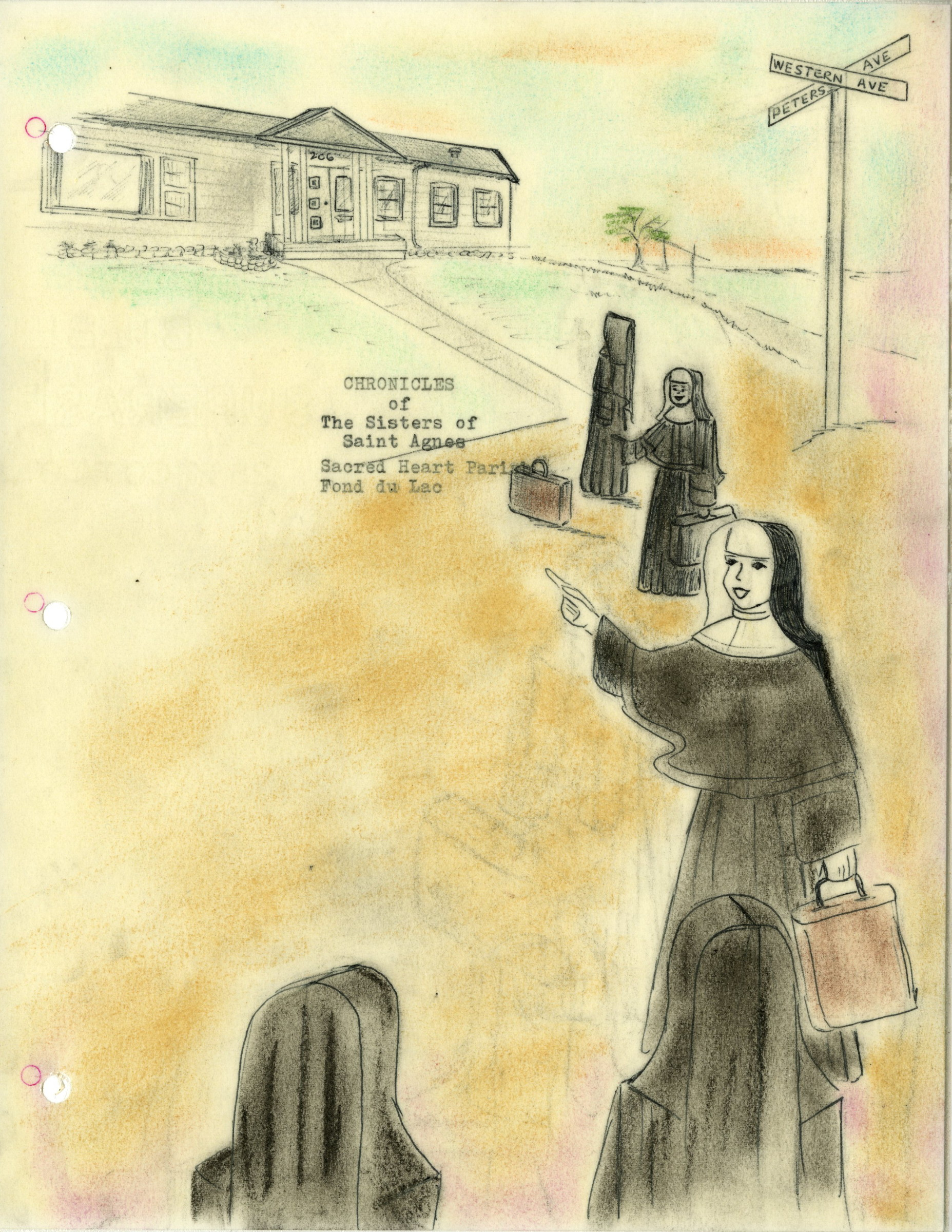 Cover page of the Chronicles of the Sisters of St. Agnes at Sacred Heart School, 1960s.