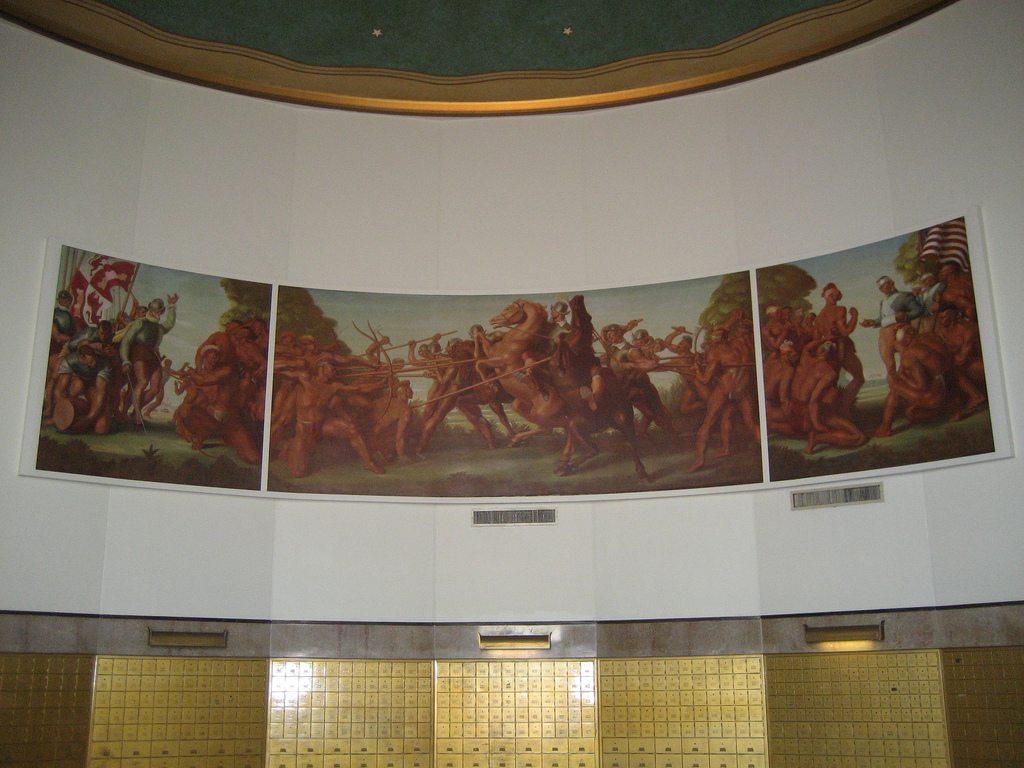 Charles Hardman's wall mural features Hernando de Soto, Ponce de Leon and General Thomas Jesup.