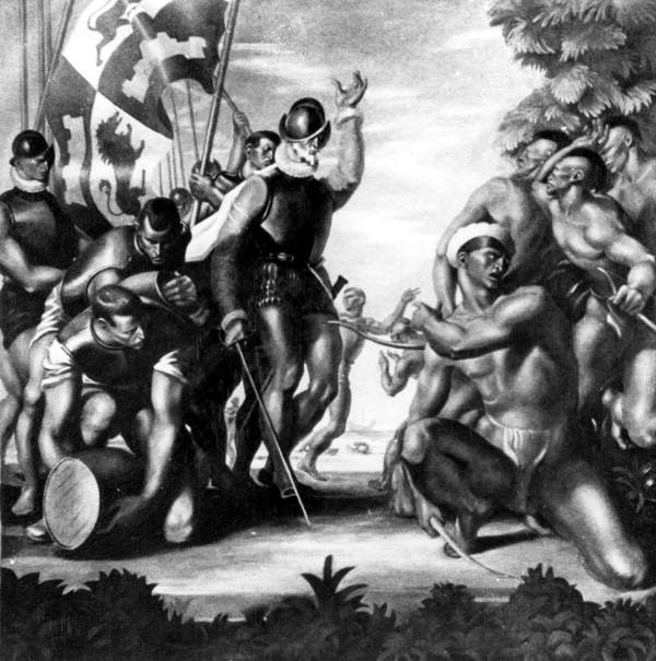 "A detail of Hardman's mural entitled ""Discovery"" features Native Americans reacting to the arrival of Ponce de Leon in 1513."