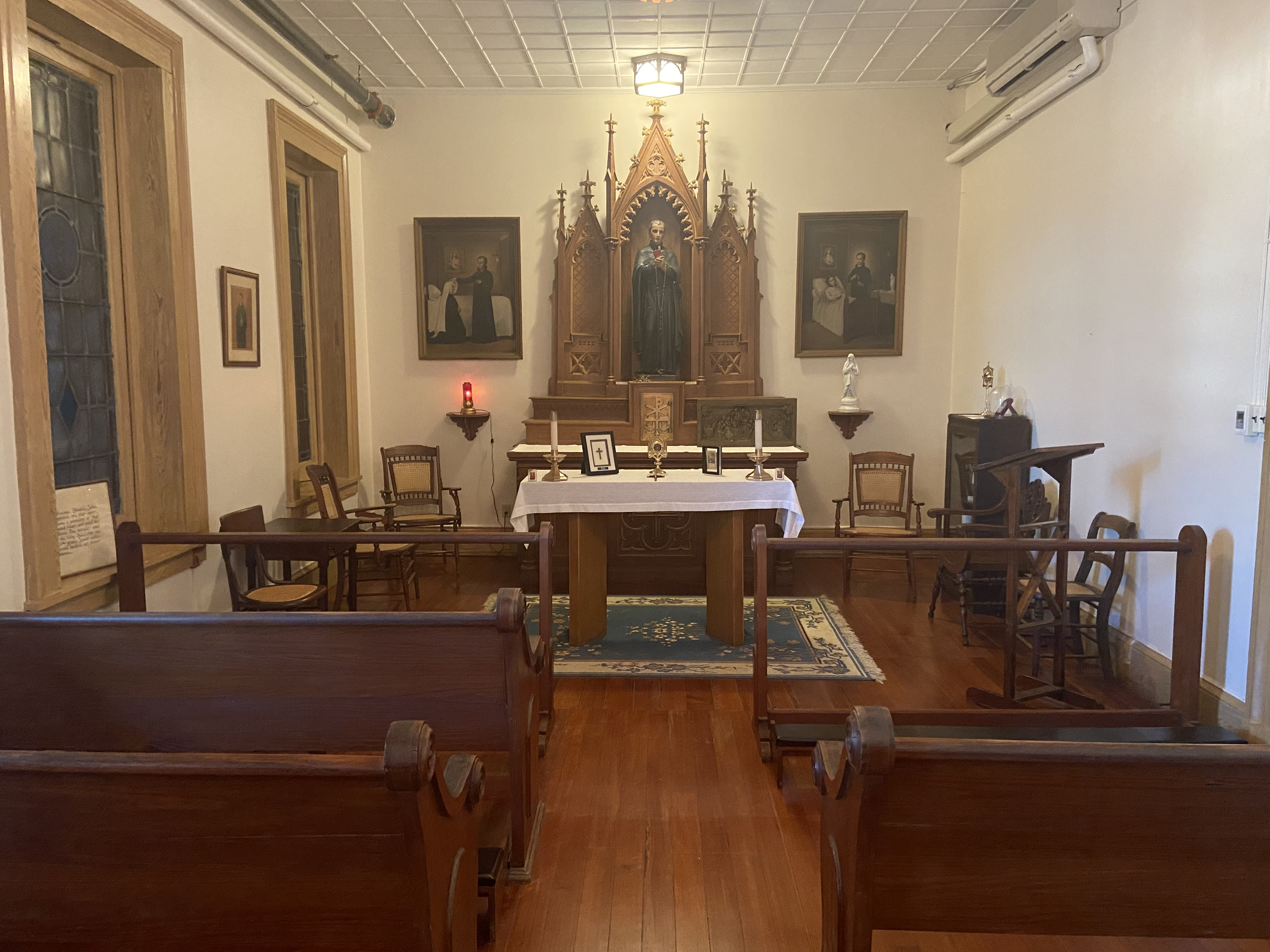 The Shrine of St. John Berchmans is the site of the original infirmary where novice, Mary Wilson, was cured in 1866.  Her miraculous recovery was attributed to Blessed John Berchmans, thus resulting in his canonization in 1888.
