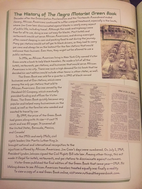 Last page of Ruth and The Green Book that contains some history on the NMGBs.