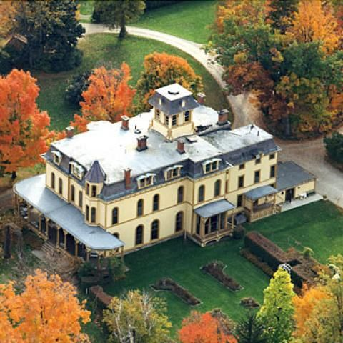 This aerial photograph reveals the massive size of the Park-McCullough House.