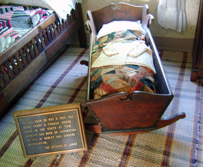 This bassinet was used by Harry Truman as an infant while he rested next to his mother.