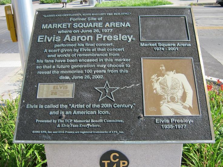 Marker commemorating the last concert of Elvis