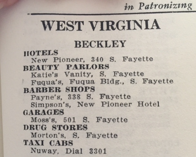 Other listings in the Beckley area in the NMGB (1954 Edition)