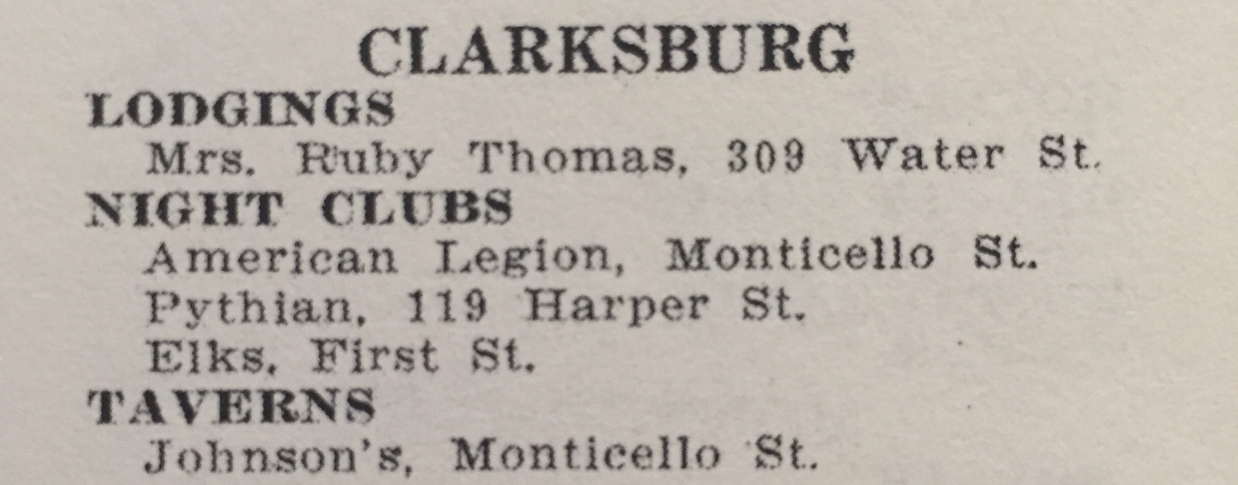 Other listings in the Clarksburg area found in the NMGB (1954 Edition).