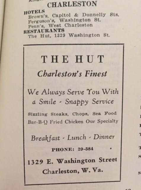 Other listings in the Charleston area (1954 Edition) with an ad for The Hut.