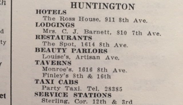 Other listings in the Huntington area in the 1954 edition.