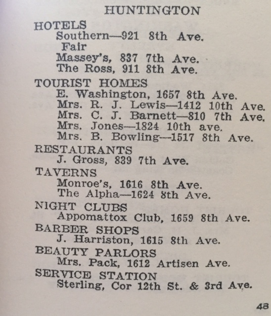 Other listings in the Huntington area in the 1940 edition.