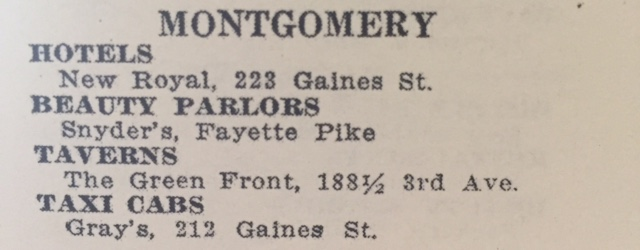 Other listings in the Montgomery area in the 1954 edition.