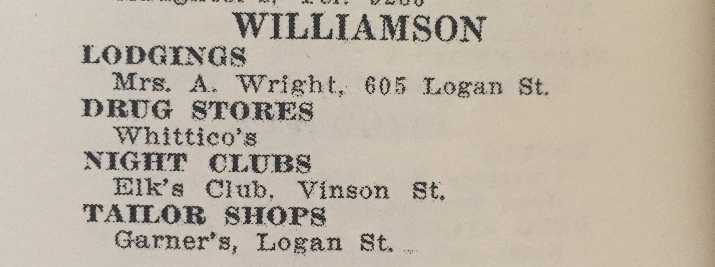 Other listings in the White Sulphur Springs area in the 1954 edition.