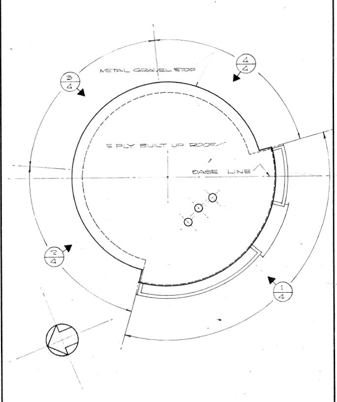 Sketch plan of Higgins Doctors Office Building from architects' drawings, 1954