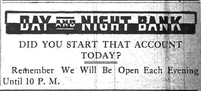 An advertisement for the Day & Night Bank in the Huntington Advertiser newspaper published on March 23, 1912, showing the logo for the bank.
