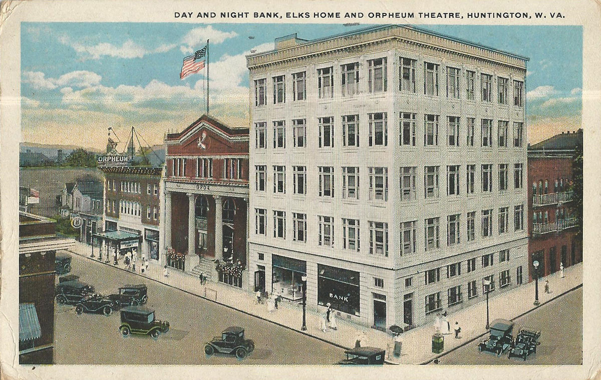 A postcard showing the Day & Night Bank, courtesy of James E. Casto.