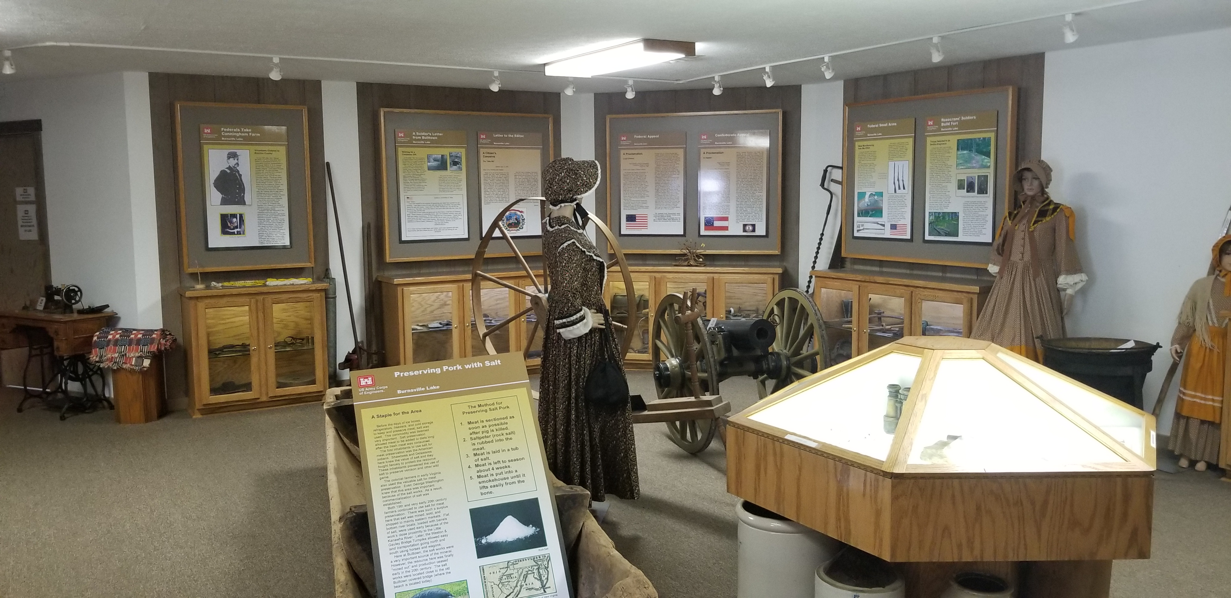 There are multiple displays of Civil War Artifacts, Summaries, Weapons, Ammo, Clothing, Tools, and Other Items from Bulltown.