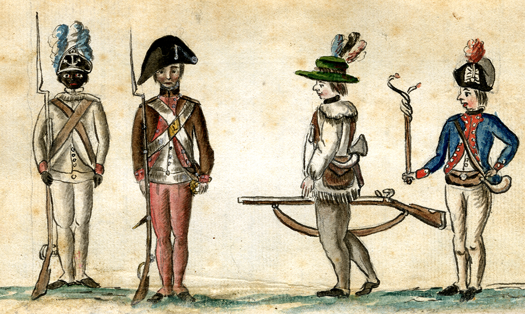 A painting of The First Rhode Island Regiment.