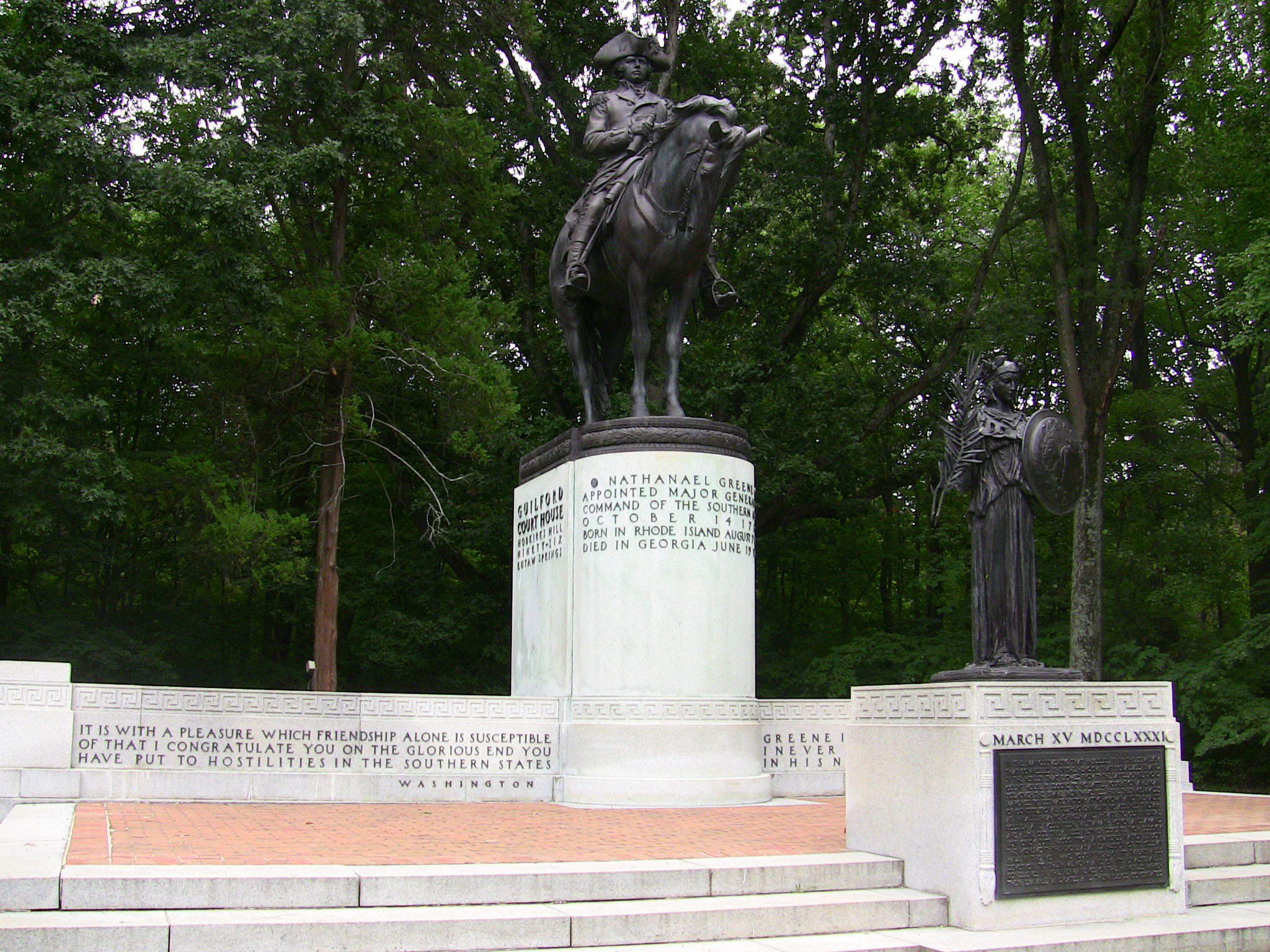 Nathanael Greene Monument at the Guilford Courthouse National Military Park in Greensboro, North Carolina