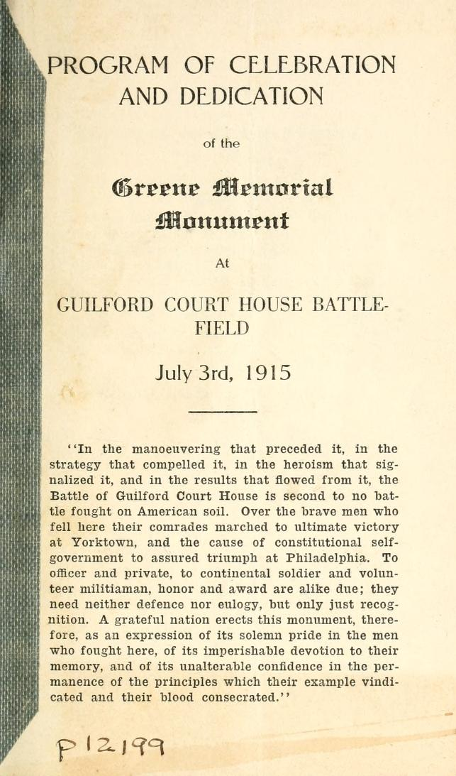 Program of the Celebration and Dedication of the Nathanael Greene Monument (Cover Page)