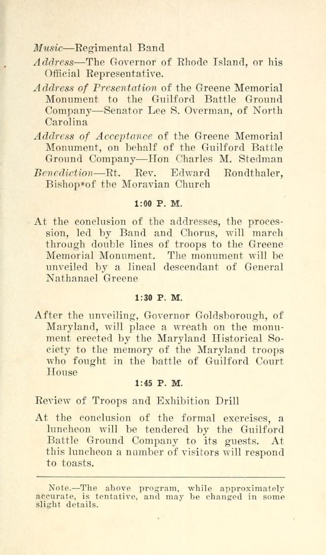 Program of the Celebration and Dedication of the Nathanael Greene Monument (Events)