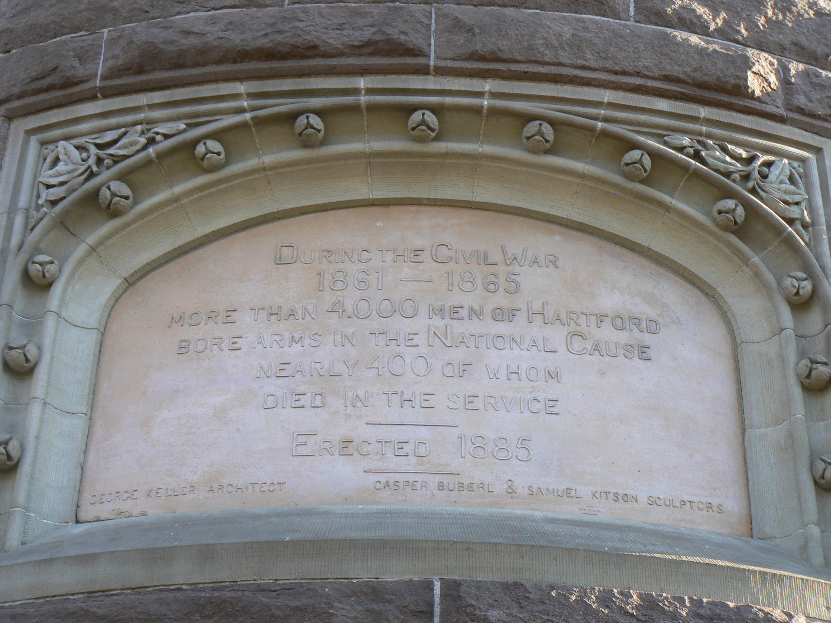 Inscription on the Southwest side of the West tower.