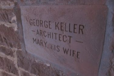 Inscription honoring George Keller and his wife.