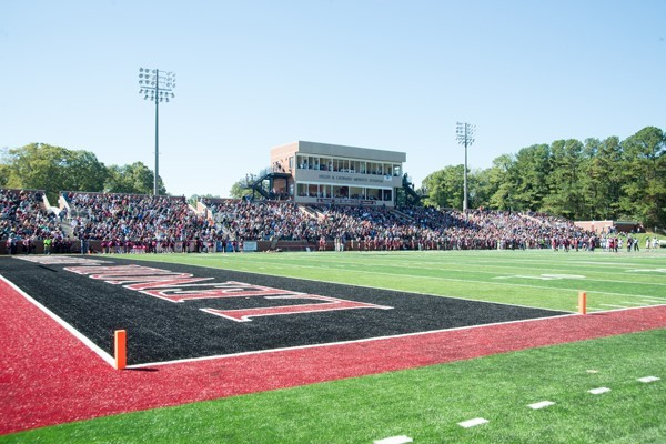 A view of the Helen & Leonard Moretz Stadium on game day
