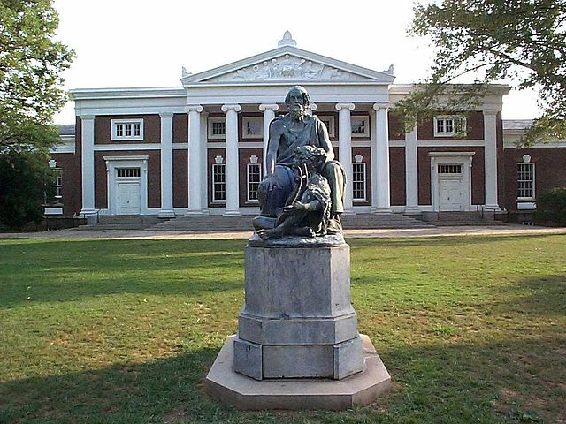 Homer Sculpture in front of Old Cabell Hall
