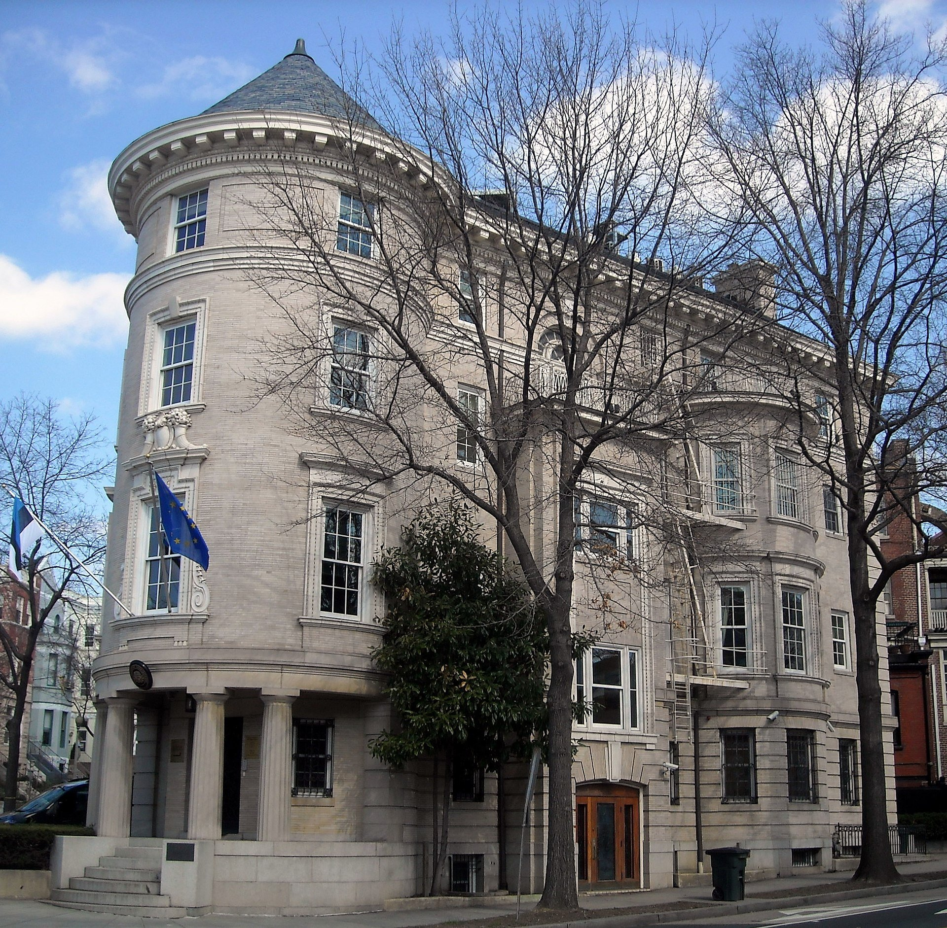 The Embassy of Estonia was damaged in a fire in 2001, especially by water and smoke. Thanks to around 80 firefighters and the hard work of those who restored the building, the beautiful chancery remains steadfast on Embassy Row. Wikimedia Commons.