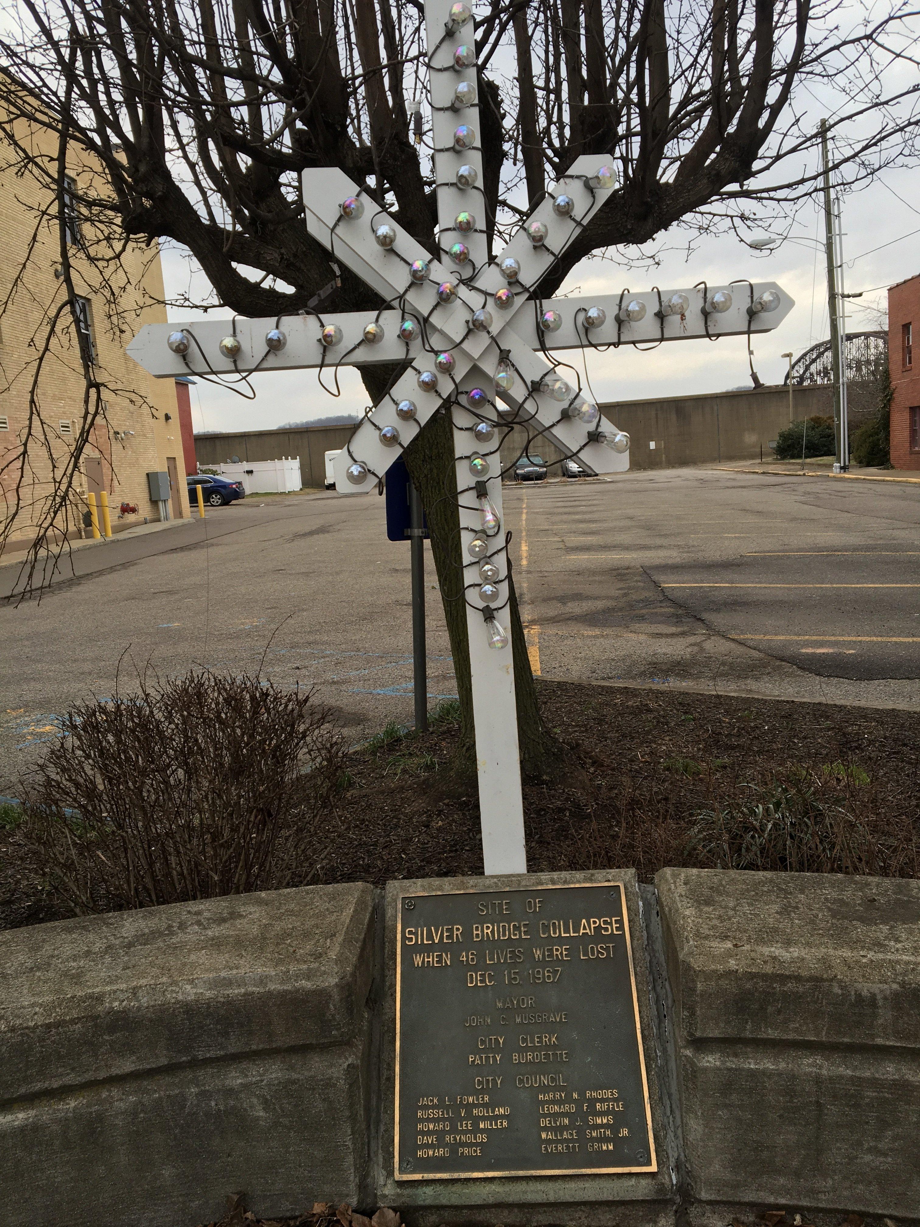 Cross above the Silver Bridge Dedication Plaque