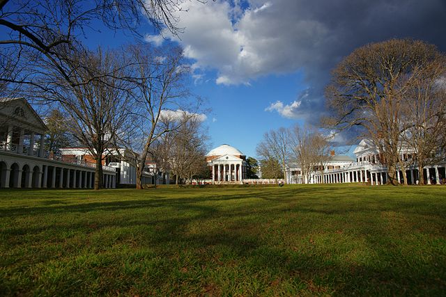 The Lawn at U.Va, looking north