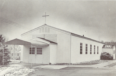 The temporary church structure before remodeling