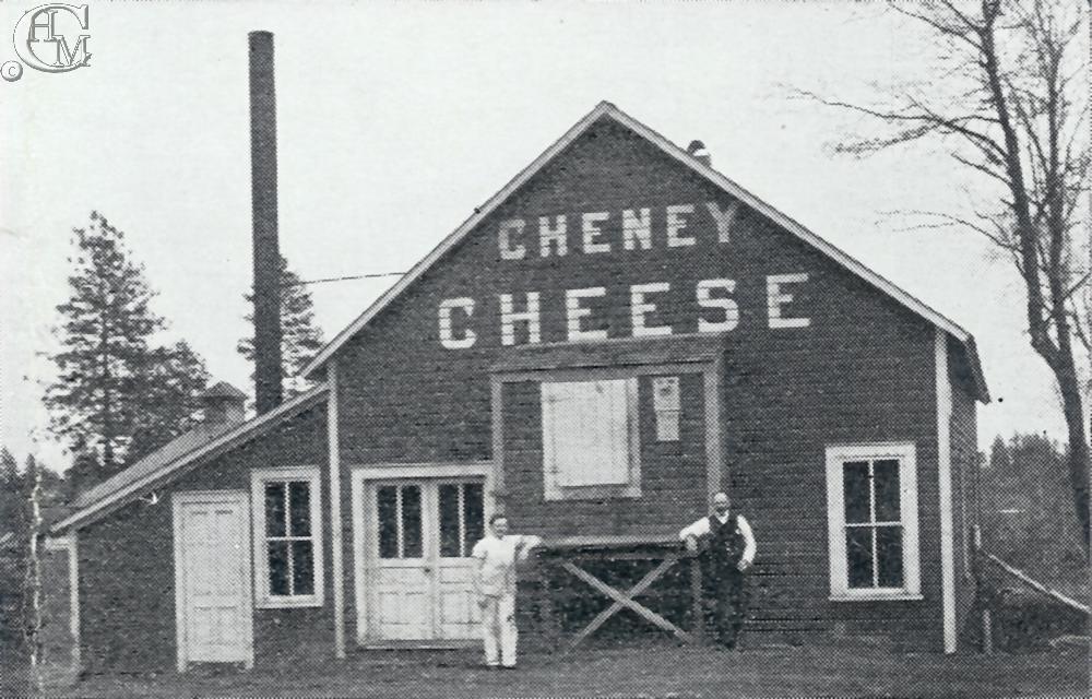 Cheney Cheese Factory 1906. Fred Reuter at right.