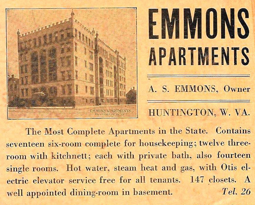An advertisement for the Emmons Sr. apartment building circa 1917, photo courtesy of Patrick Morris.