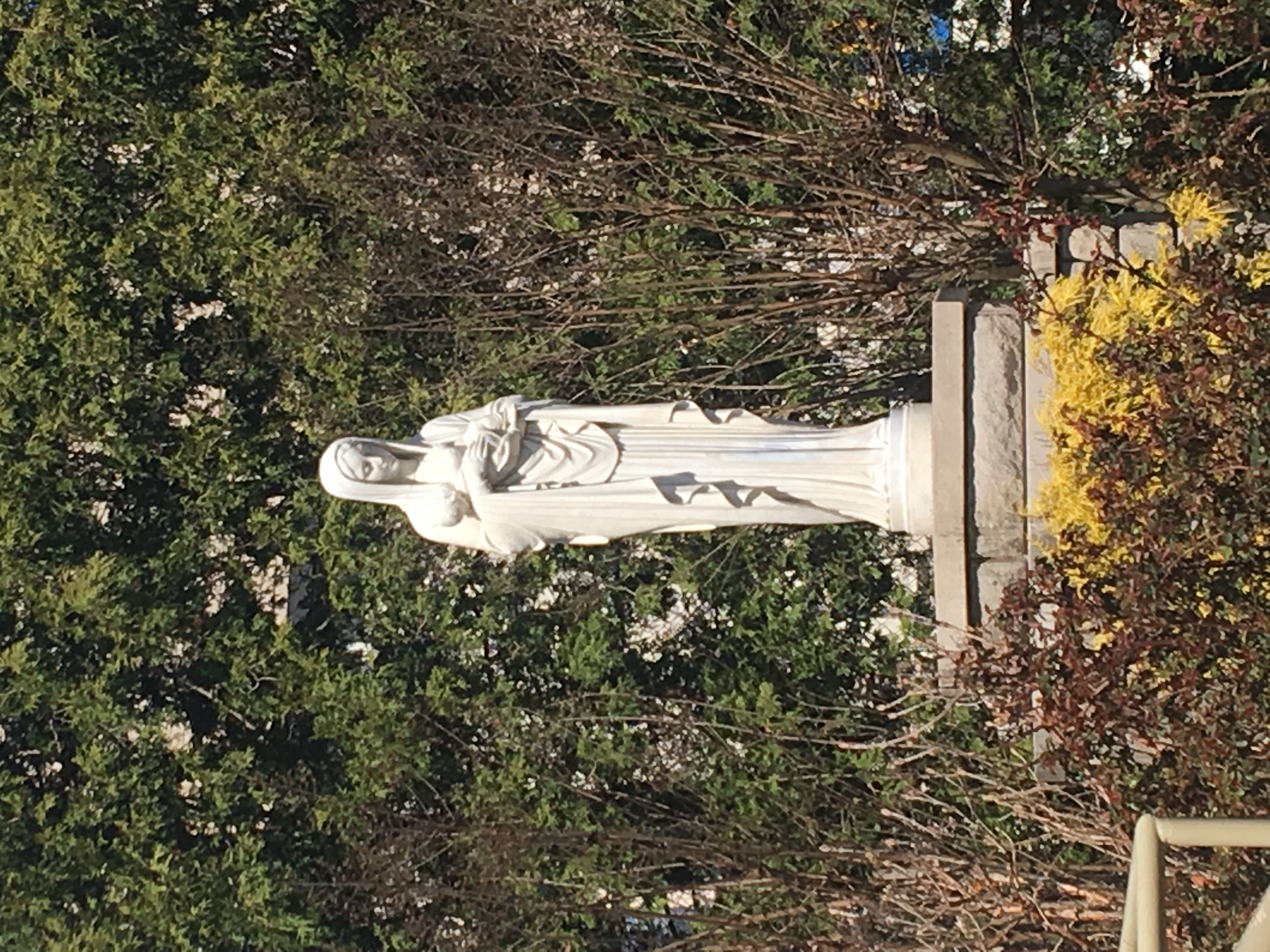 Statue of Mother Mary in the courtyard