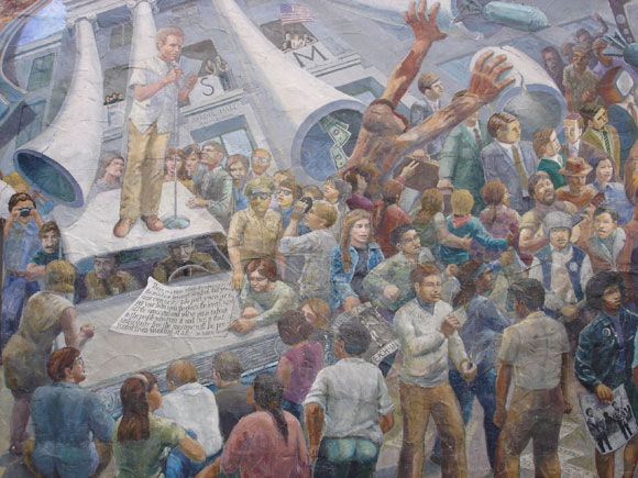 """""""A People's History of Telegraph Avenue"""" mural depicting a detail of Mario Savio speaking to the crowd of protestors"""