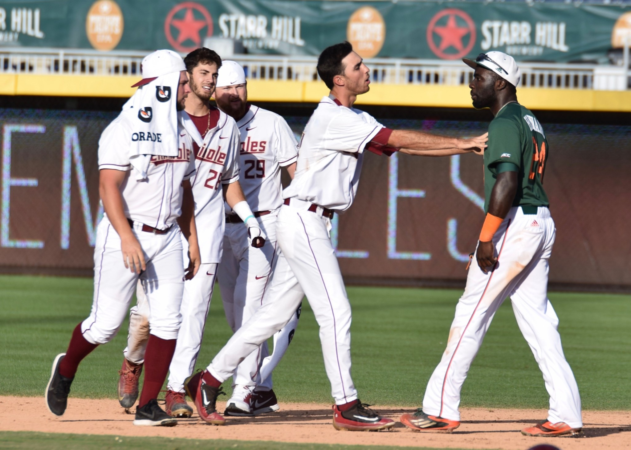 This picture was taken after the Seminoles walked it off against the Hurricanes in the ACC Championship game last year. There was a scuffle that broke out just before the celebration.