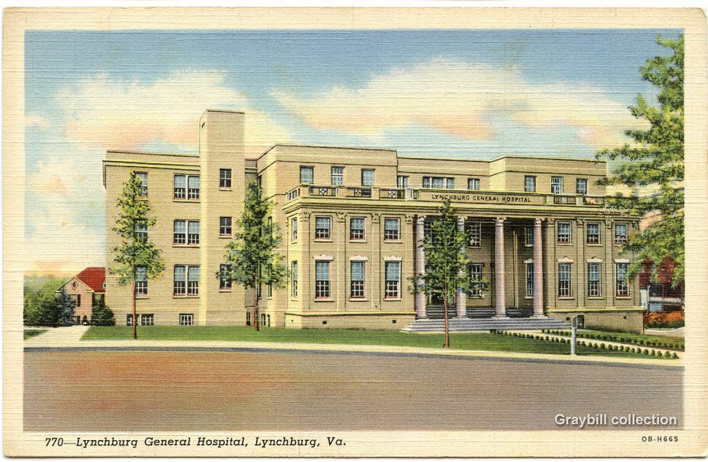 Lynchburg General Hospital on a postcard