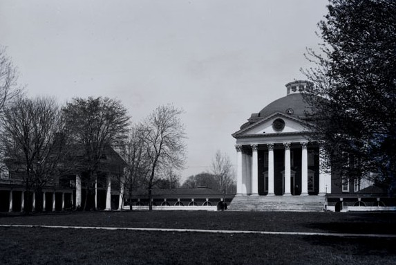 University of Virginia: The Rotunda and Pavilion I as seen from the Lawn in or before 1895