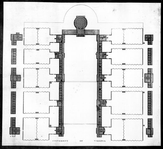 Engraving by Peter Maverick of the plan of the University of Virginia, after Jefferson's drawing, 1826.