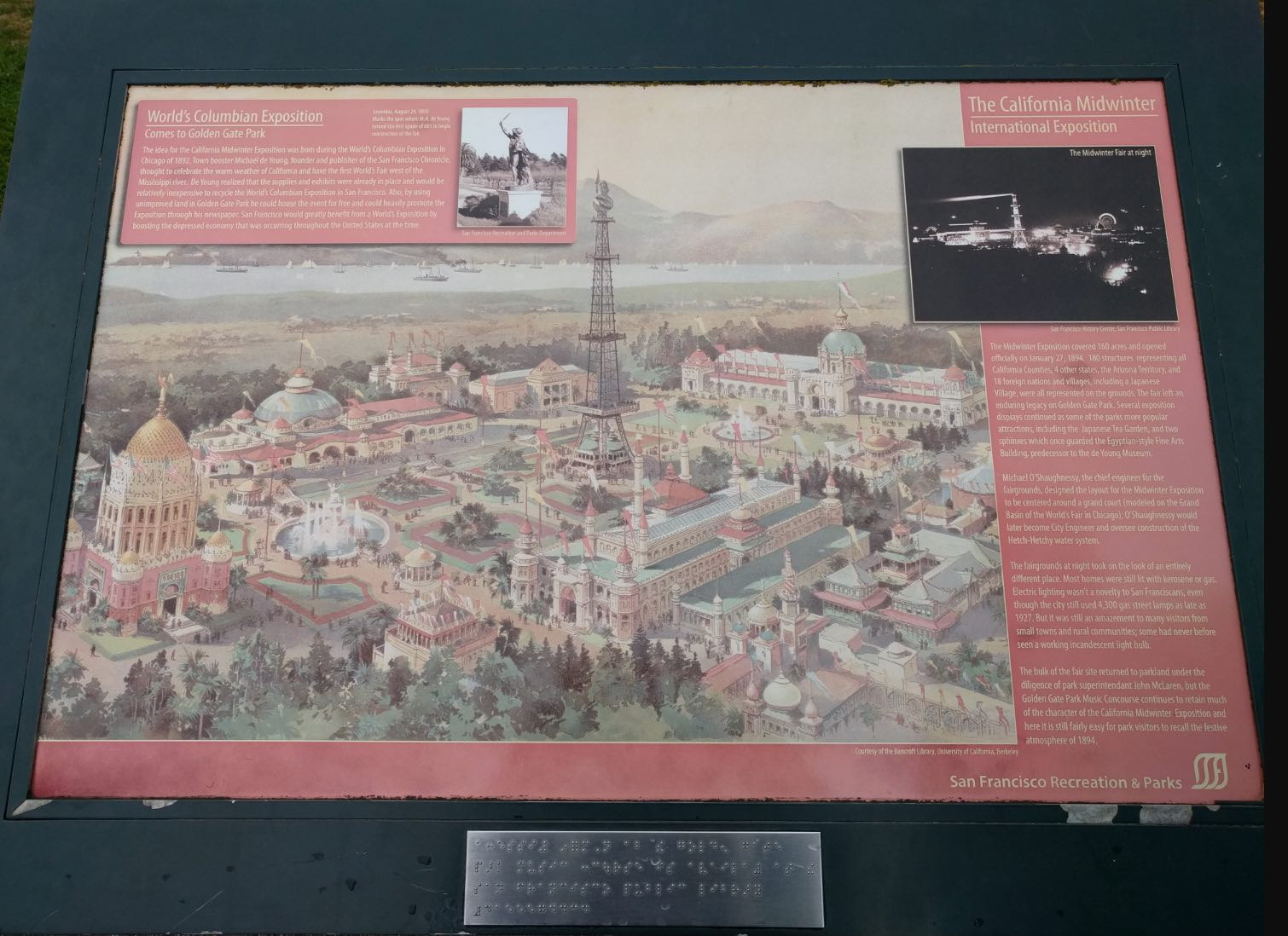 """Historical Marker showing an illustration of the 1894 California Midwinter International Exposition (""""world's fair"""") in Golden Gate Park"""