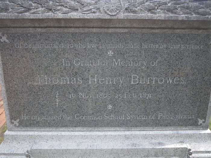 Thomas Henry Burrowes' grave stone in Lancaster County, Pennsylvania