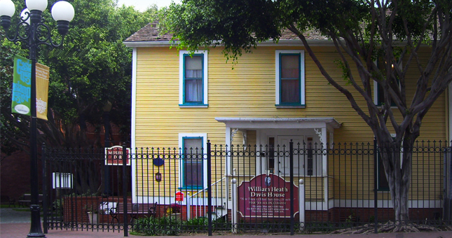 The William Heath Davis House is now the Gaslamp Museum and is the oldest structure in what was New Town San Diego.