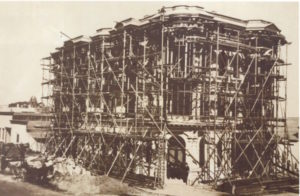 The building under construction in 1890.