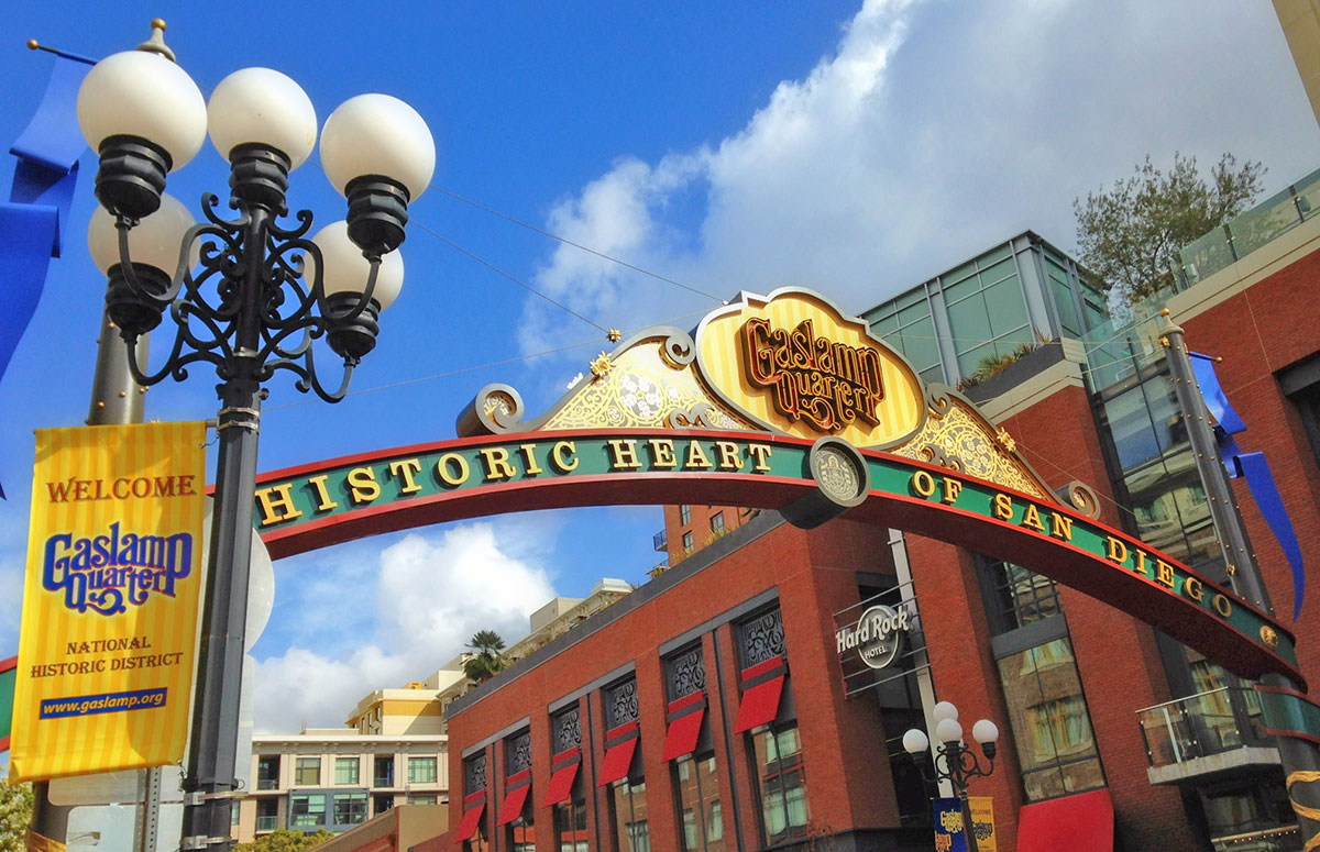 The Gaslamp Quarter Historic District in San Diego is listed on the National Register of Historic Places.