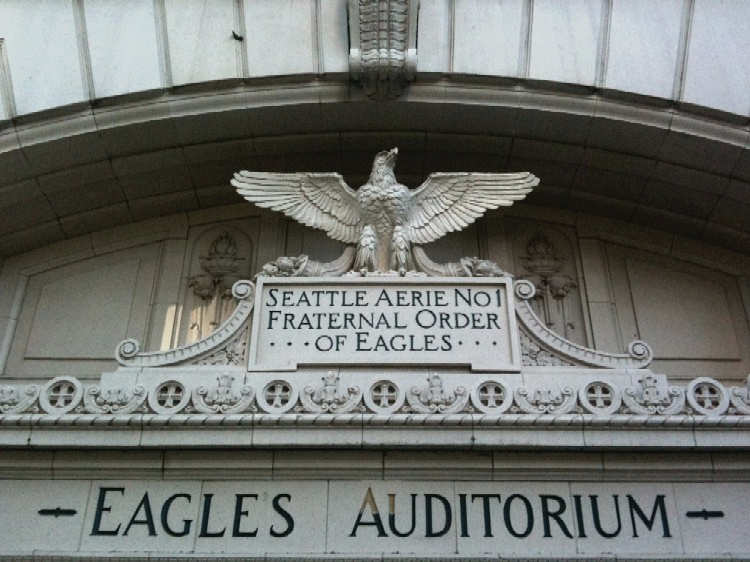 Architectural features remind Seattle residents of the building's original use as an auditorium that was built by the Fraternal Order of Eagles.