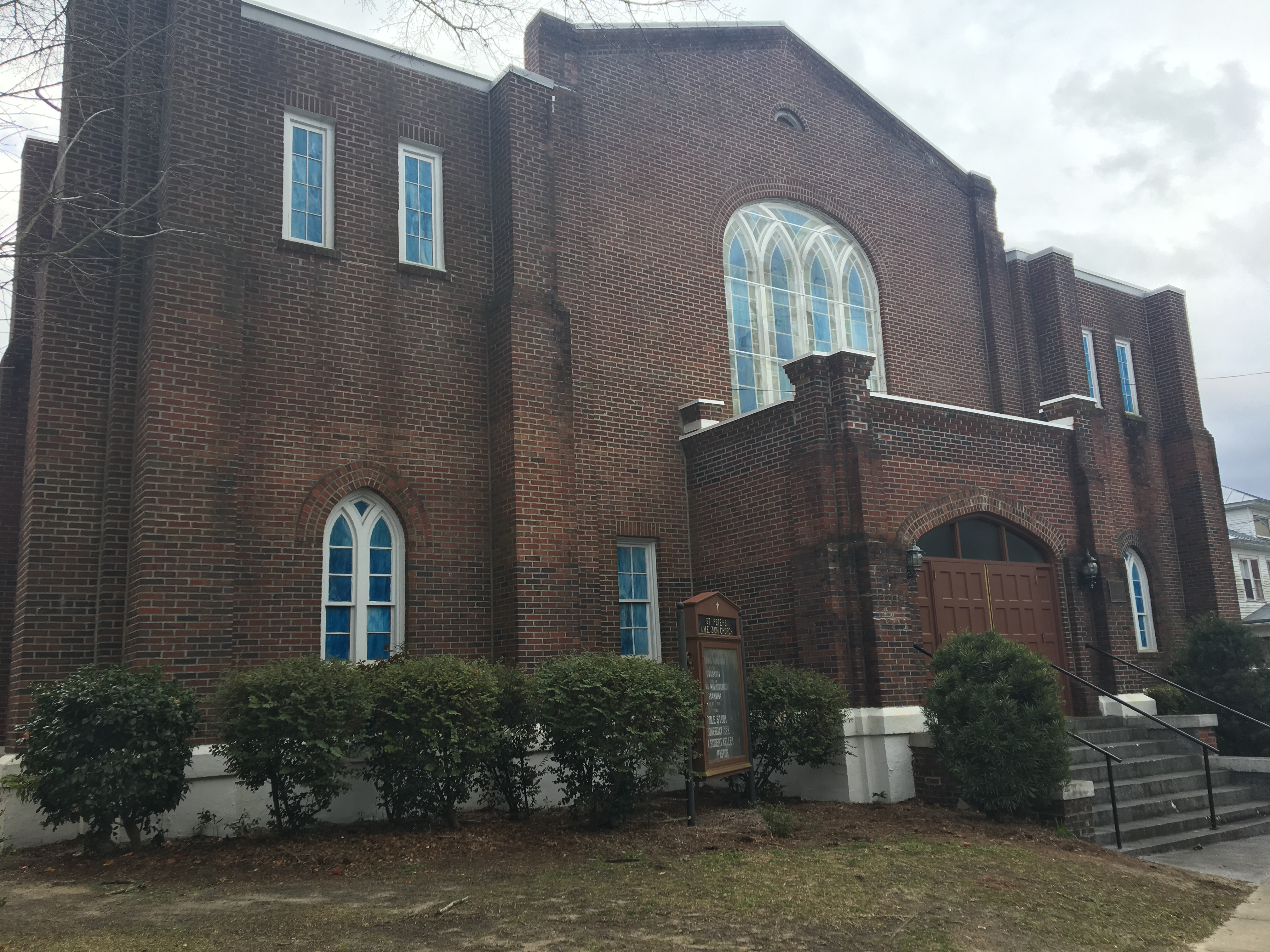 St. Peter's AME Zion Church in New Bern, North Carolina. The structure is gothic-style, constructed of bricks.