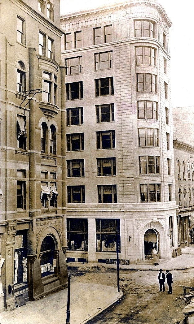 A side view of the Kanawha Boulevard location that was lost to urban renewal. The Terminal Building still exists today.