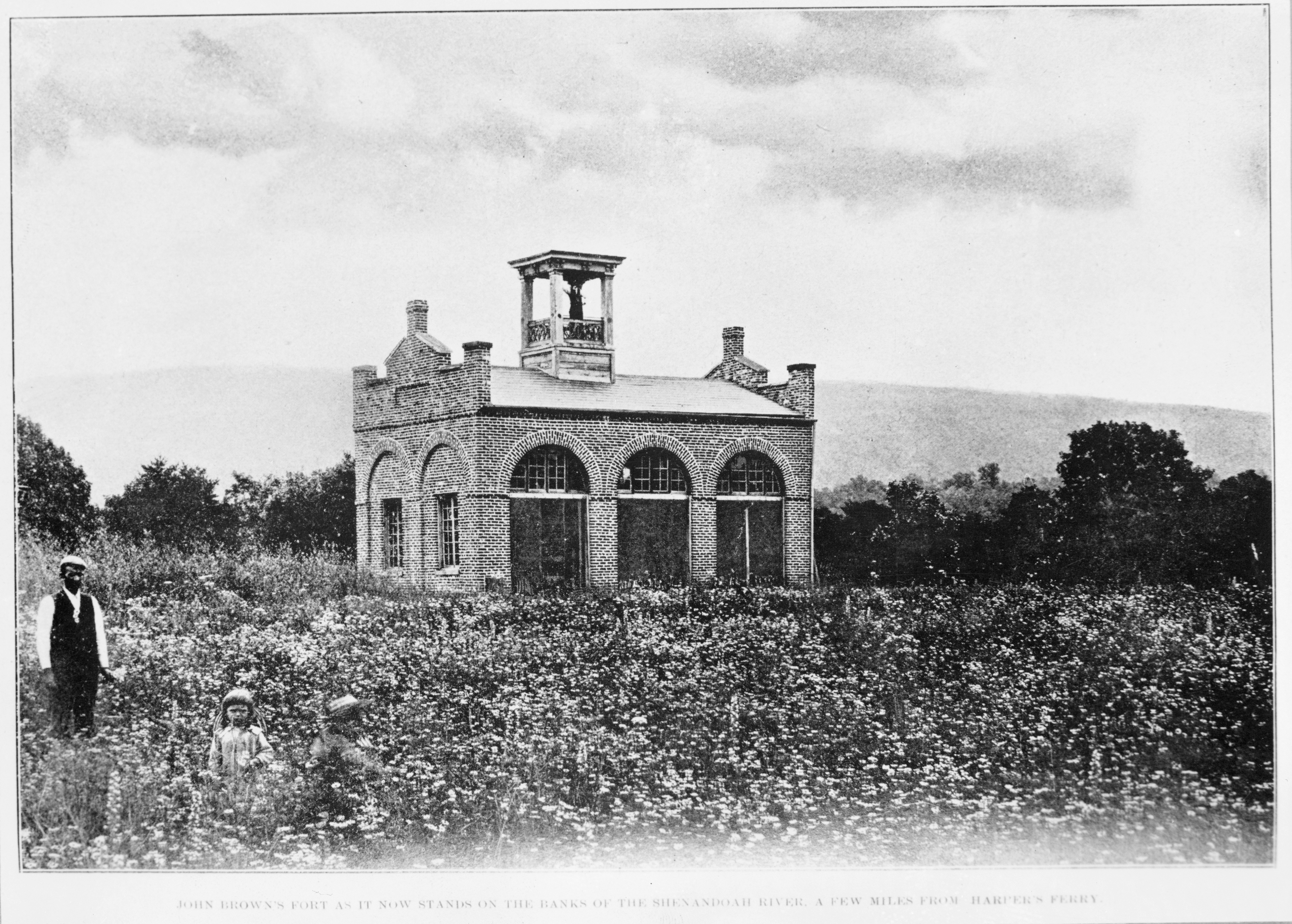 From 1895 to 1909 John Brown's Fort sat on a field at  the Murphy Farm. Image obtained from the National Park Service.